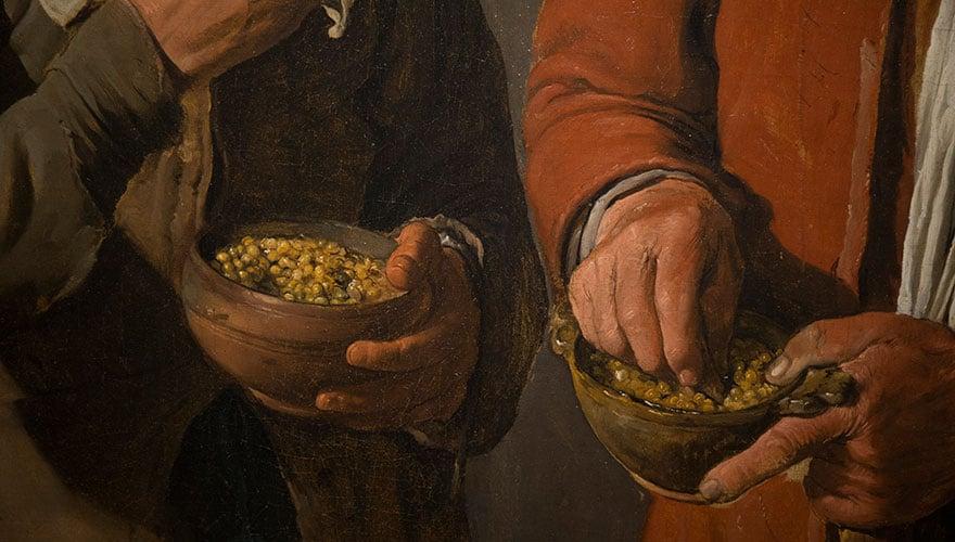 Detalle de comedores de guisantes