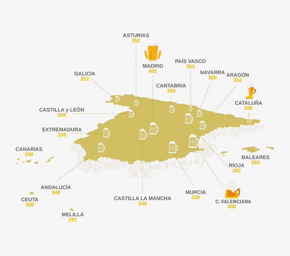 El mapa de la cerveza en España