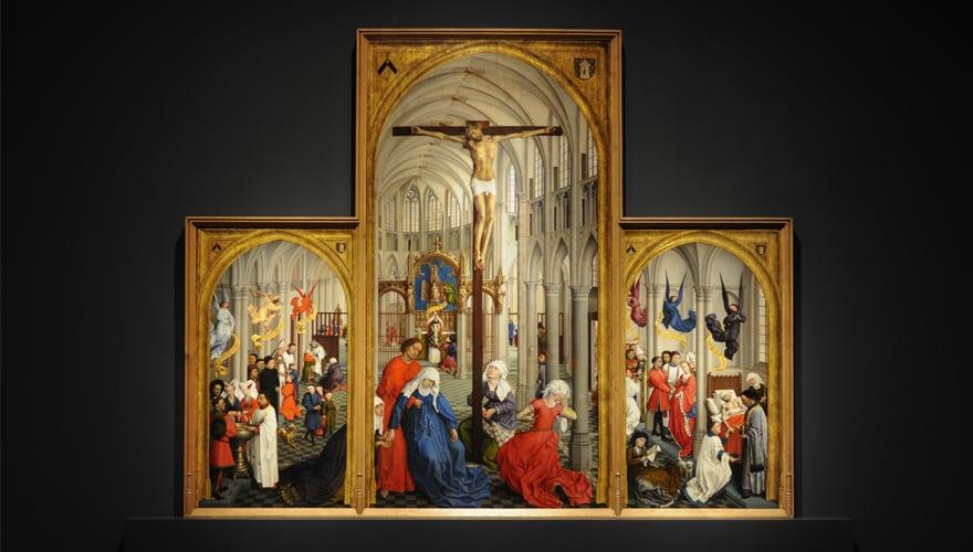 1450: Tríptico de los Siete Sacramentos. Óleo sobre tabla de roble. Amberes, Koninklijk Museum voor Schone Kunsten.