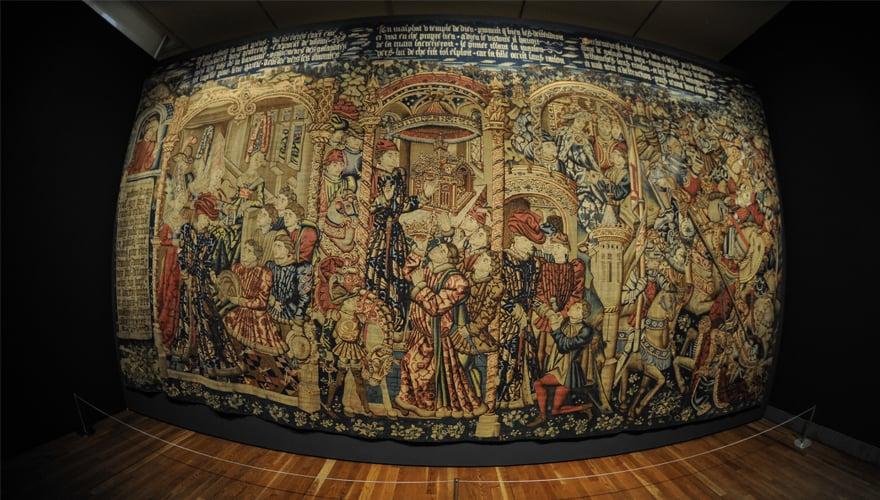 1450-1460: Episodios de la historia de Jefté. Manufactura bruselense, según Rogier van der Weyden. Lana y seda. Zaragoza, Museo de Tapices de la Seo- Cabildo Metropolitano de Zaragoza.