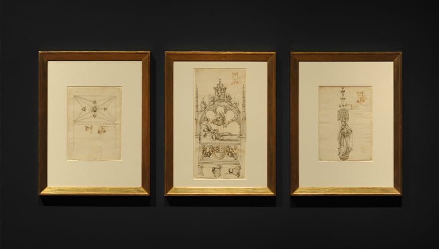1460-1467: Dibujos para el sepulcro de Alfonso de Velasco y para la capilla de Santa Ana de la iglesia del monasterio de Guadalupe. Egas Cueman. Tinta a pluma sobre papel. Real Monasterio de Santa María de Guadalupe.
