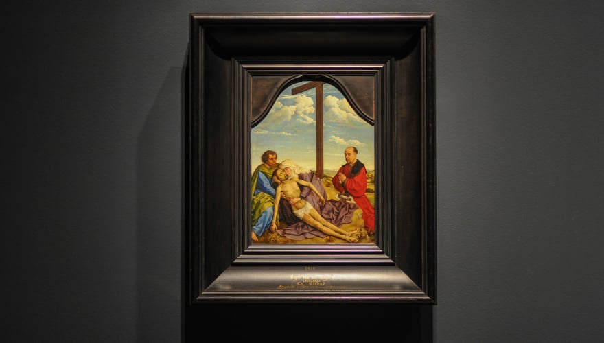 1440-1450: La Piedad. Taller de Rogier van der Weyden. Óleo sobre tabla de roble. Museo Nacional del Prado