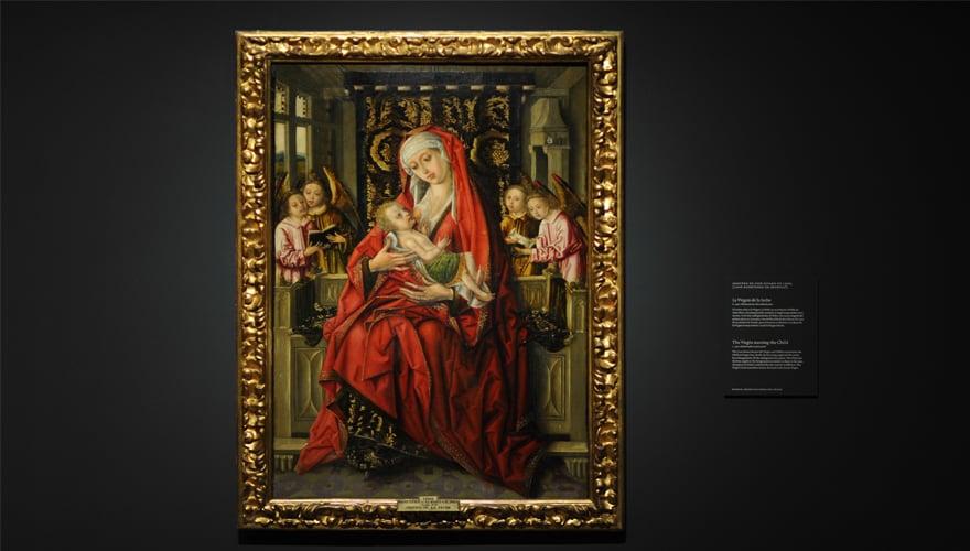 1490: La Virgen de la leche. Maestro de don Álvaro de Luna. Técnica mixta sobre tabla de pino. Museo Nacional del Prado
