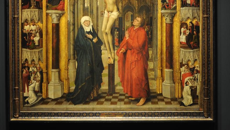 1450: La Crucifixión, tabla central del Tríptico de la Redención. Maestro de la Redención del Prado. Óleo sobre tabla de roble. Museo Nacional del Prado.
