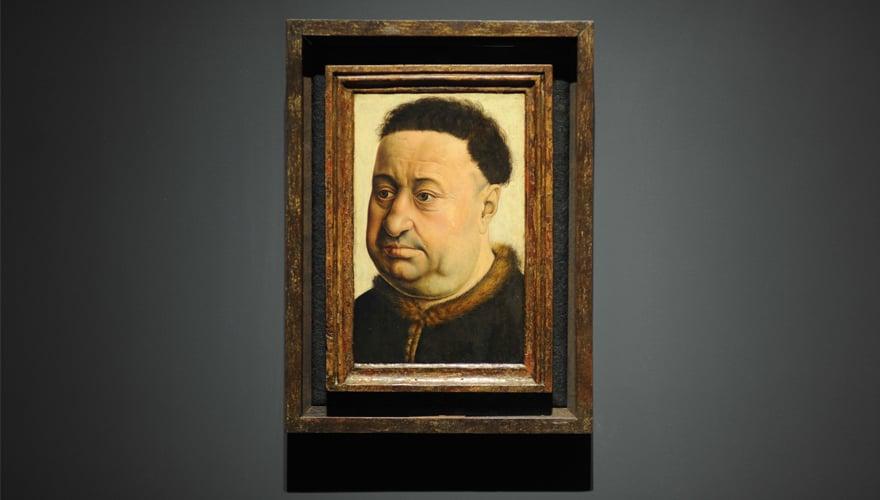 1435: Retrato de un hombre robusto. Robert Campin. Óleo sobre tabla de roble. Madrid, Museo Thyssen-Bornemisza.