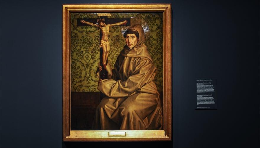 1470: San Francisco con un crucifijo. Nuno Gonçalves. Óleo sobre tabla de roble. Lisboa, Museu Nacional de Arte Antiga